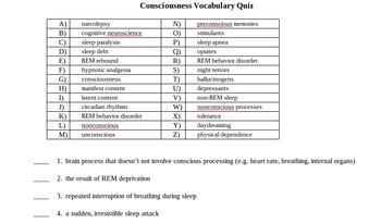 Psychology Vocabulary: Consciousness
