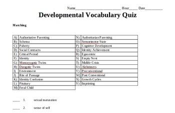 Psychology Vocabulary: Development