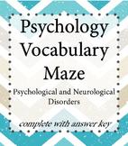 Psychology Vocabulary Maze - Disorders