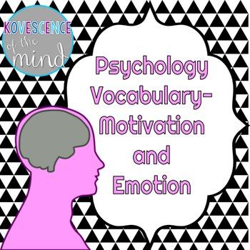 Psychology Vocabulary: Motivation and Emotion