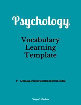 Psychology Vocabulary Word Wall BUNDLE--100 Common Words plus Template