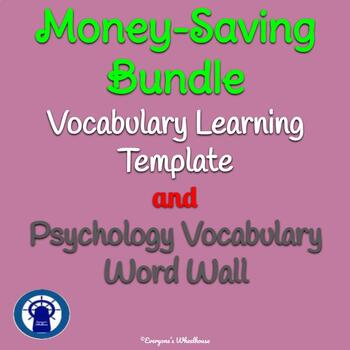 Psychology Vocabulary Word Wall BUNDLE--100 Common Vocabulary Words + Template