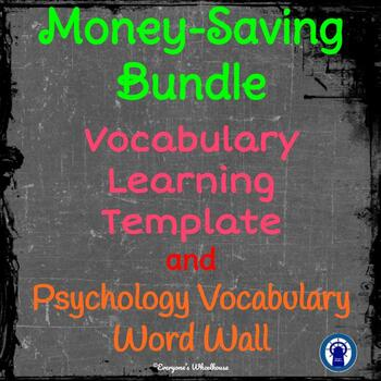 Psychology Word Wall BUNDLE Chalkboard Theme 100 Common Words Plus Template
