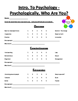 Psychology - Who are you? The Big 5...