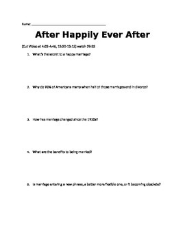 Psychology and Sociology: After Happily Ever After