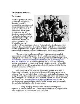 Psychology (cults) - Jonestown Massacre