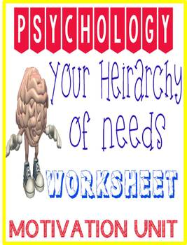 Psychology motivation analyzing your heirachy of needs worksheet