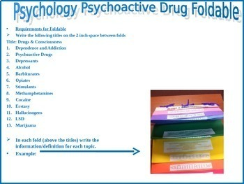 Psychology or Health Psychoactive Drug Foldable directions and example