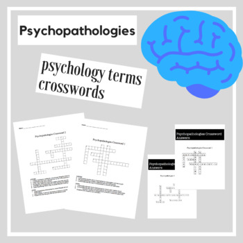 Psychopathologies Psychology Crossword Practice | Psychology Activities