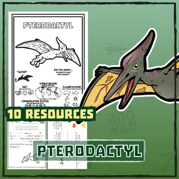 Pterodactyl -- 10 Resources -- Coloring Pages, Reading & Activities