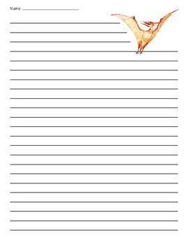 Pterodactyl Dinosaur Lined Paper