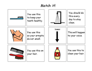 Puberty/Grooming Items Match