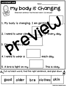 Puberty: My body is changing Girls worksheet set #2