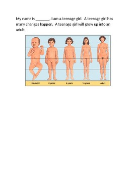 Puberty story for girls autism