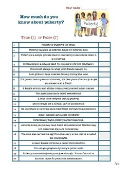 Puberty test with answers