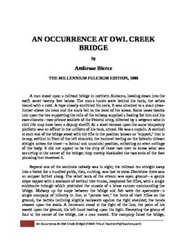 Public Domain Short Story An Occurrence at Owl Creek Bridge by Ambrose Bierce