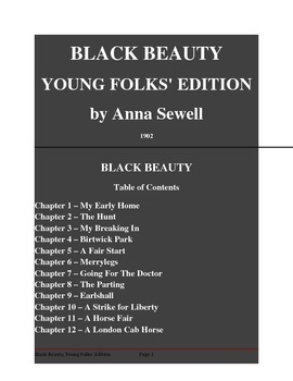 Public Domain Short Story, Black Beauty, Young Folks' Edition by Anna Sewell
