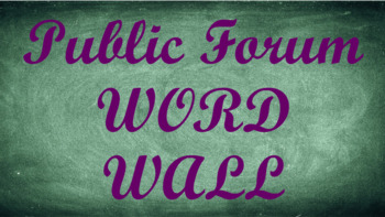 Public Forum Debate Word Wall- Chalkboard Template