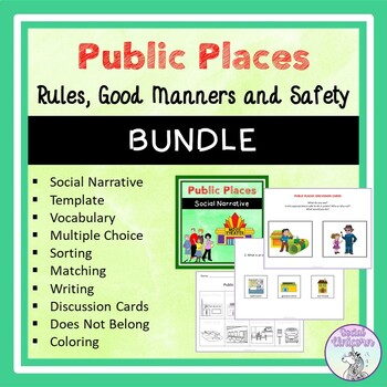 Public Places - Social Narrative, Template and Activities BUNDLE