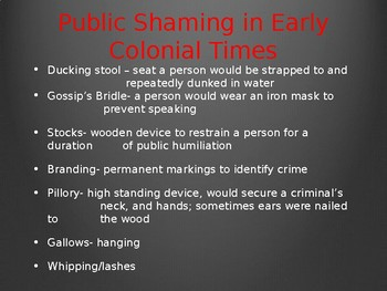 Public Punishments PPT. Colonial/Modern Times