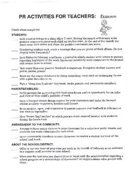 Public Relations Checklists for Educators
