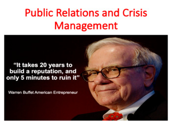 Public Relations and Crisis Management