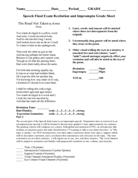 Public Speaking: A performance Final Exam