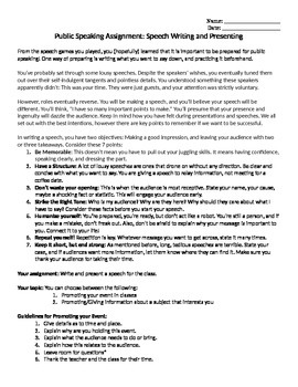 Public Speaking Activity (editable)