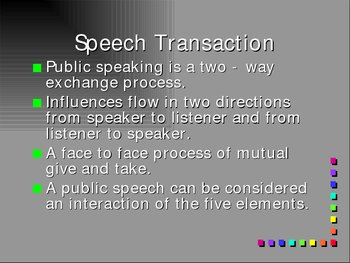 Public Speaking: Elements of Communication: Power point