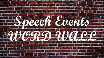 Public Speaking Events Word Wall- Brick Template