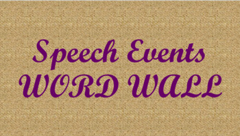 Public Speaking Events Word Wall- Burlap Template
