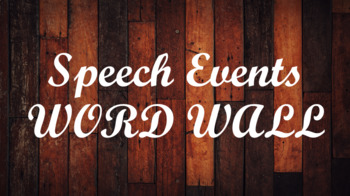 Public Speaking Events Word Wall- Wood Template