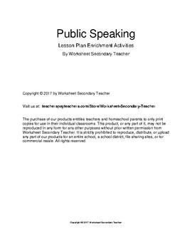 Public Speaking Lesson Plan Enrichment Activities