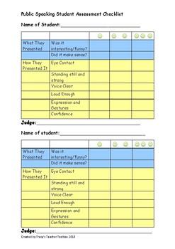 Public Speaking Student Assessment Checklist