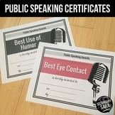 Public Speaking Awards: 50 Certificates for Speech in Secondary ELA