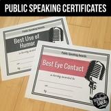 Public Speaking Superlative Awards: 50 Certificates for En