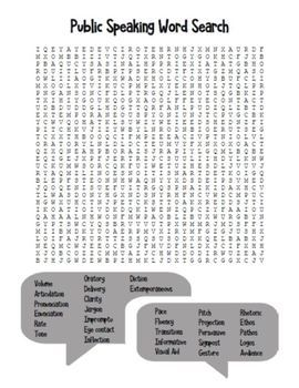 Public Speaking Word Search & Answer Key