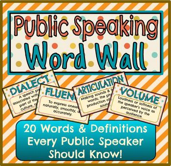 Public Speaking Word Wall (20 Vocabulary Words & Definitions)
