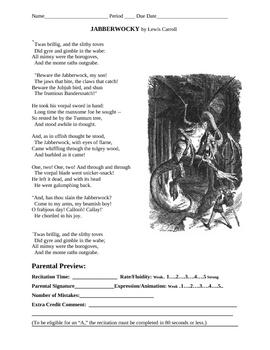 Public Speaking:Jabberwocky Recitation Grade Sheet and a Preview sheet