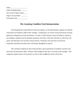 Public Speaking:Oral Interpretation: The Lemming Condition Bundle
