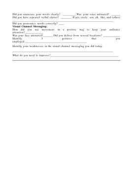 Public Speaking:Post Speech Self Evaluation Form
