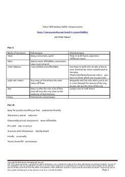 Public Transport in Sydney Video Task (Advantages/disadvantages, vocabulary)