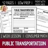 Public Transportation Lesson Unit Consumer Math Life Skills Special Education
