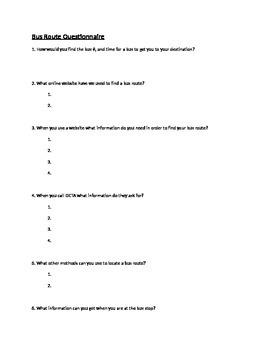 Public Transportation- Bus Route Questionnaire