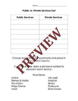 Public vs Private Services Word Sort for Government