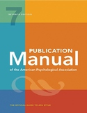 Publication Manual of the American Psychological Association: 7th Edition