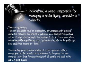 Publicist Creative Writing Activity