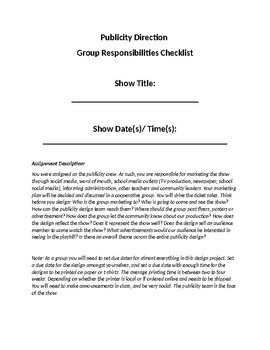 Publicity Direction Group Responsibilities Checklist