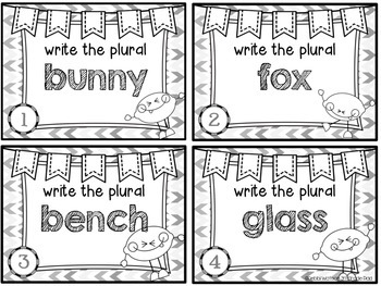 Plurals Task Cards: Color & Ink-Friendly Versions
