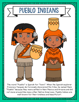 Pueblo Indians Coloring Page Activity and Poster, Native A